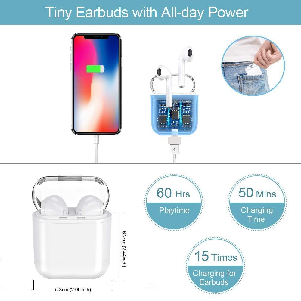 Auriculares Bluetooth micr/ófono est/éreo Integrado en Manos Libres para Apple Airpods Android//iPhone Auriculares inal/ámbricos en el o/ído
