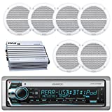 Kenwood Bluetooth CD MP3 USB AUX AM/FM Marine Boat Stereo Receiver 6x 6.5 Dual Cone Marine Speakers 4 Ch Waterproof 400 Watt Amplifier
