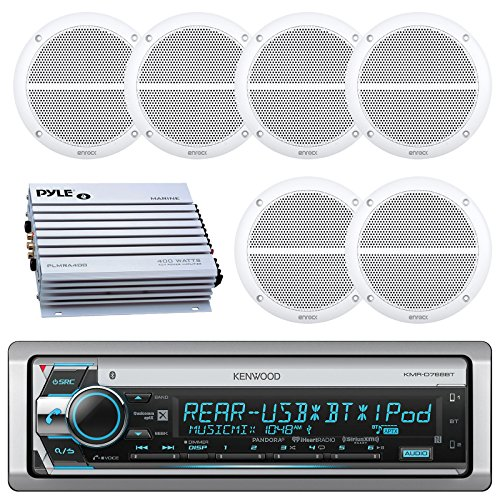 Kenwood Bluetooth CD MP3 USB AUX AM/FM Marine Boat Stereo Receiver 6x 6.5 Dual Cone Marine Speakers 4 Ch Waterproof 400 Watt Amplifier - Ic Dual Audio Preamp