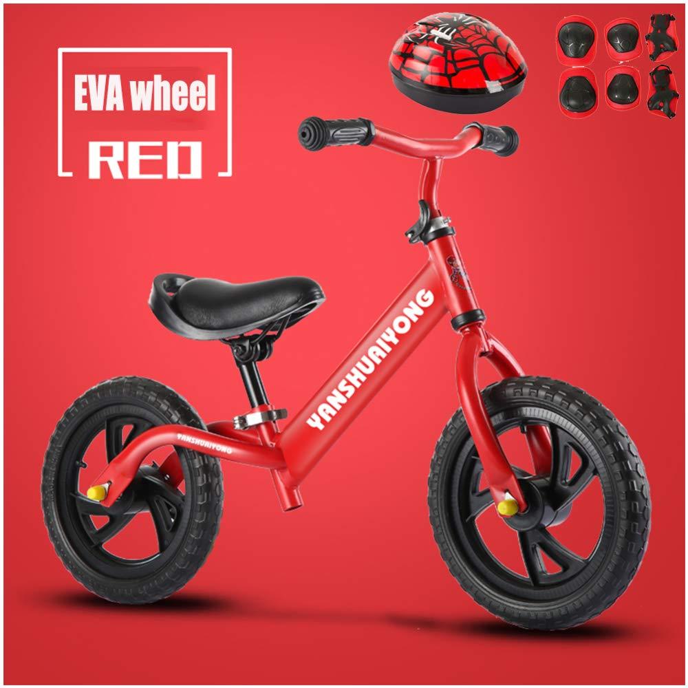 CHRISTMAD Balance Fahrrad   Verstellbarer Lenker Und Sitzhöhe   Helm Und Schutzausrüstung   Luftrad Eva-Rad   2-6 Jahre Kindergeschenk 80-120cm,F