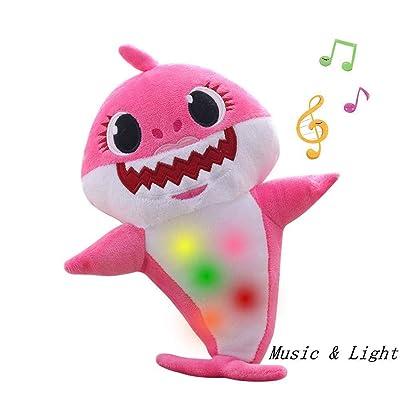 Chengbo-Baby Shark Official Singing Plush, Music Sound Baby Shark Plush Doll Soft Baby Cartoon Shark Stuffed & Plush Toys Singing English Song for Kids Gift Children Gir(Pink): Toys & Games