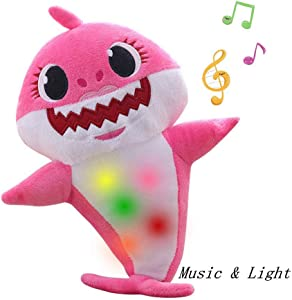 Chengbo-Baby Shark Official Singing Plush, Music Sound Baby Shark Plush Doll Soft Baby Cartoon Shark Stuffed & Plush Toys Singing English Song for Kids Gift Children Gir(Pink)