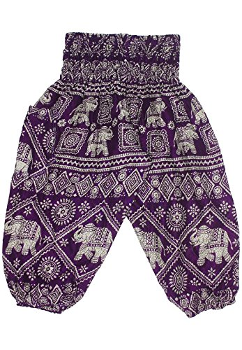 Lofbaz Kids Hippy Gphsy Child Elephant Stamp Bohemian Pants Dark Purple Size 3/4 Years