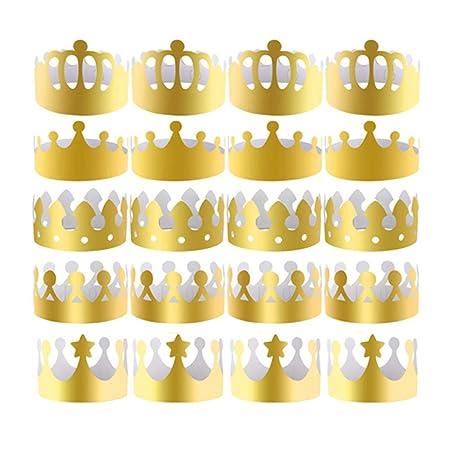 Yongbest Corona de Papel de Fiesta,30 Piezas Coronas de ...