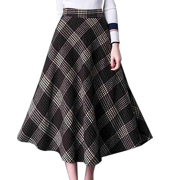 e8e34d11cf Gocgt Women's High Waisted Woolen Skirts Checkered Thick Winter Warm Skater Long  Skirts