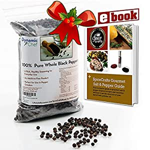 Pure Whole Black Peppercorns, Tellicherry pepper, Premium Quality, FDA approved, No Pesticides, Steam Sterilized for Freshness, Resealable Bag, Approx. 7 oz.