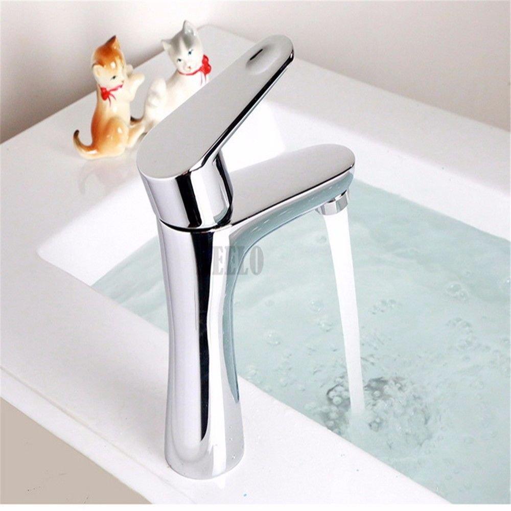 Po-sacher Bad Armatur Waschbecken Mischbatterie Waschbecken Wasserhahn Messing Waschbecken Wasserhahn Warmes und Kaltes Garderobe Waschbecken Mischbatterie Waschtischmischer Fingertipp