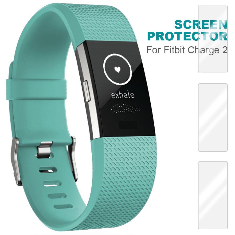 Cargador para Fitbit Charge 2 con Protectores de Pantalla TPU, FineGood USB adaptador de Dock para Cable de Carga, 3 Películas de Protección ...