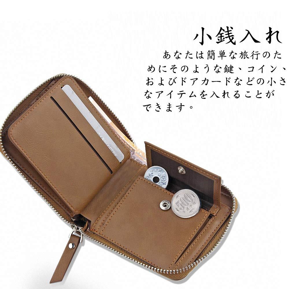 8e18d84042a3 Amazon   DSGUAN 財布 メンズ 二つ折り 本革 小銭入れ 防水人気 軽量 薄い 大容量 カード収納 (ブラウン)   DSGUAN    マネークリップ