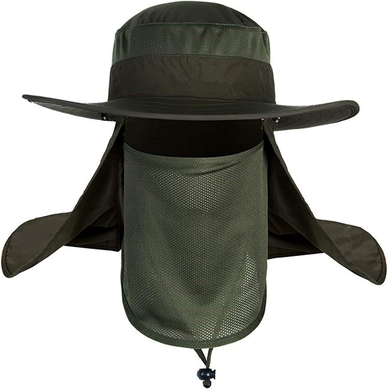 Men Women Fishing Sun Hat with Removable Neck Face Flap Sun Hat Waterproof Bucket Hat Breathable Mesh Boonie Hat