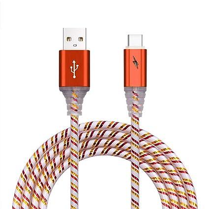 Bodbii Tipo C-USB Resplandor de luz LED de PVC de sincronización de Datos de Carga rápida Cables de Datos de Alambre del Cable del Cargador del ...