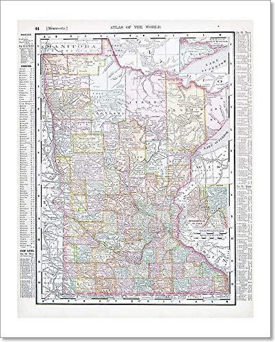 Amazon.com: Barewalls Antique Color Map Minnesota Mn United States ...