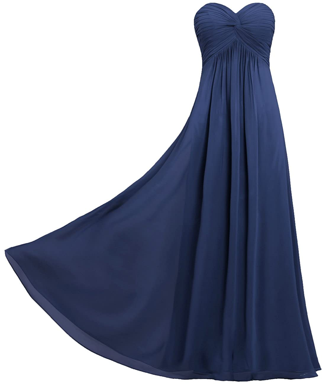 ANTS Womens Pleat Chiffon Strapless Bridesmaid Dresses Long Gowns
