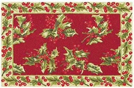 C F Home Holly Christmas Hooked Rug, 2 x 3 , Red
