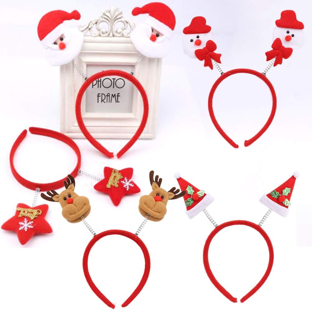 Frcolor 5pcs Bandeaux De Noel Santa star De Bonhomme De Neige star hat Bandeau Noel Photo Booth Props pour Enfants Cadeaux Adultes F/ête De No/ël Cosplay Costume