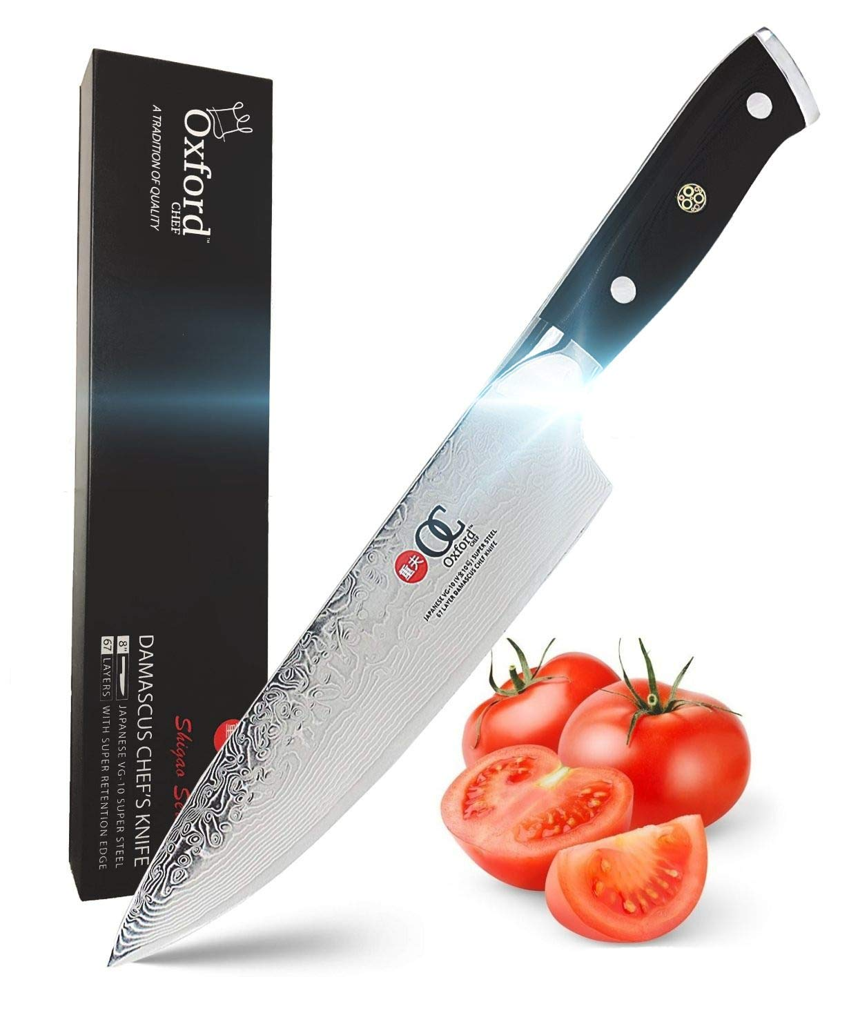 Chefs Knife 8 inch By Oxford Chef - Best Quality Damascus- Japanese- VG10 Super Steel 67 Layer High Carbon Stainless Steel-Razor Sharp, Stain & Corrosion Resistant, Awesome Edge Retention by Oxford CHEF