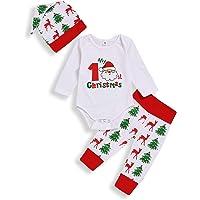 Sfuzwg My 1st Christmas Newborn Boys Niños Niñas Ropa 3 Piezas Trajes Romper Sombrero Pantalones Árbol de Navidad…
