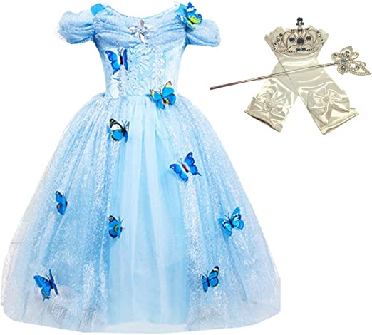 Kid Girl Princess Cinderella Cosplay Costume Butterfly Dress Halloween Xmas