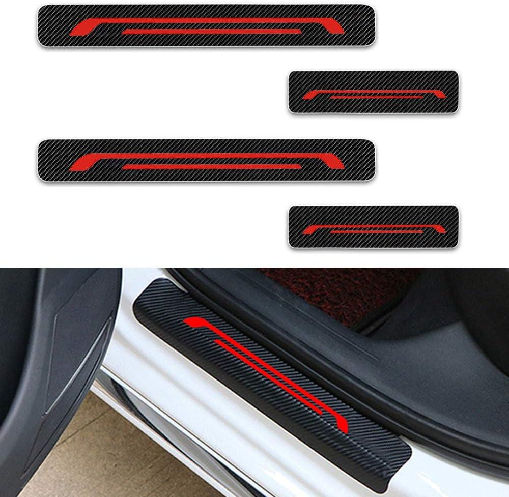 Für Edge Ecosport Escape F 250 F 350 F 450 Einstiegsleisten Schutz Aufkleber Verschleiß Vermeiden Verhindern Sie Kratzer Rutschfest Kohlefaser 4stück Rot Auto