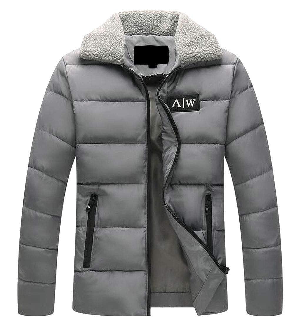 WSPLYSPJY Mens Winter Puffer Coat Faux Fur Collar Outwear Jacket