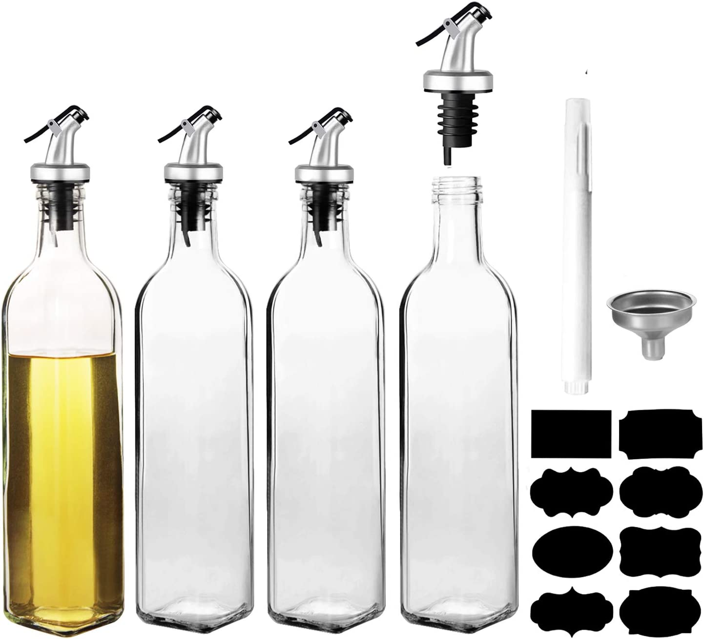 4 Pack Oil Dispenser Bottle , WERTIOO 17 OZ Glass Olive Oil and Vinegar Dispenser Set Oil Container with Funnel & Pen and Tag for Kitchen