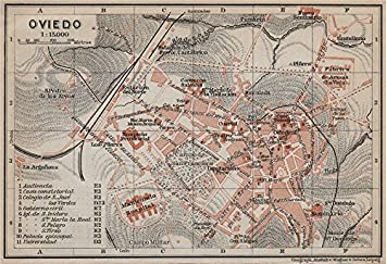 Map Of Spain Oviedo.Amazon Com Oviedo Antique Town City Ciudad Plan Spain Espana Mapa