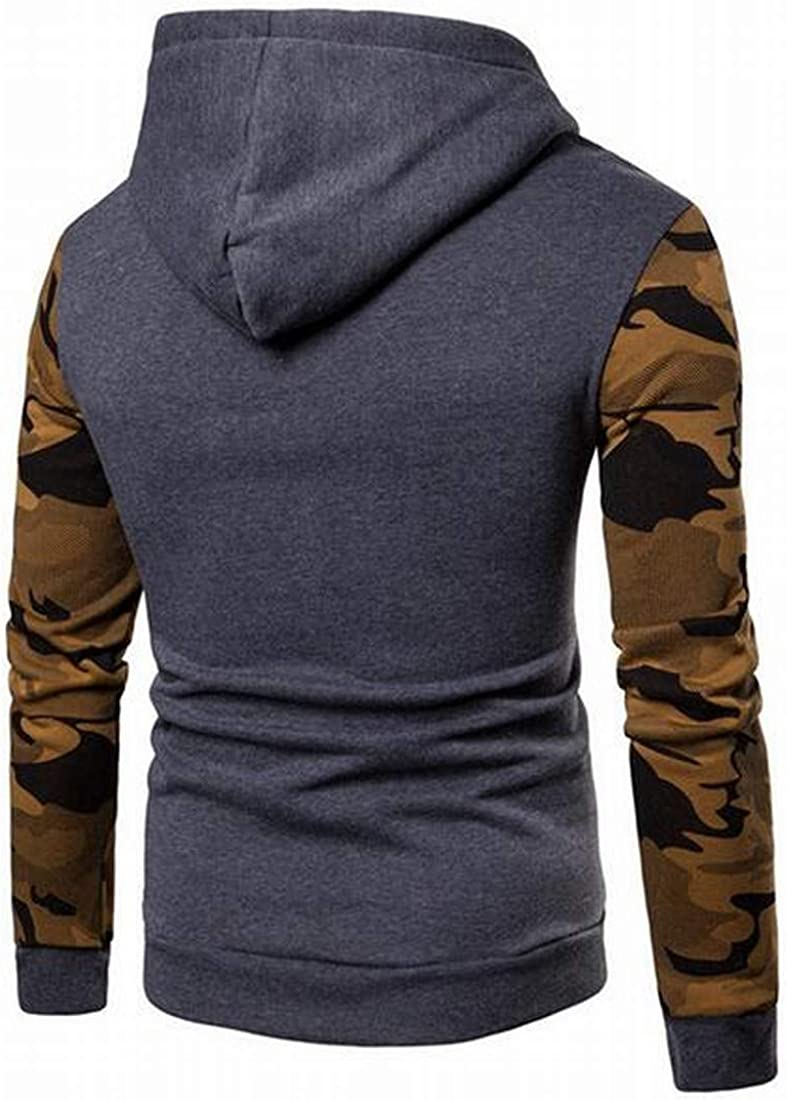Mstyle Mens Color Block Casual Active Camo Print Long Sleeve Pocket Pullover Hooded Sweatshirt