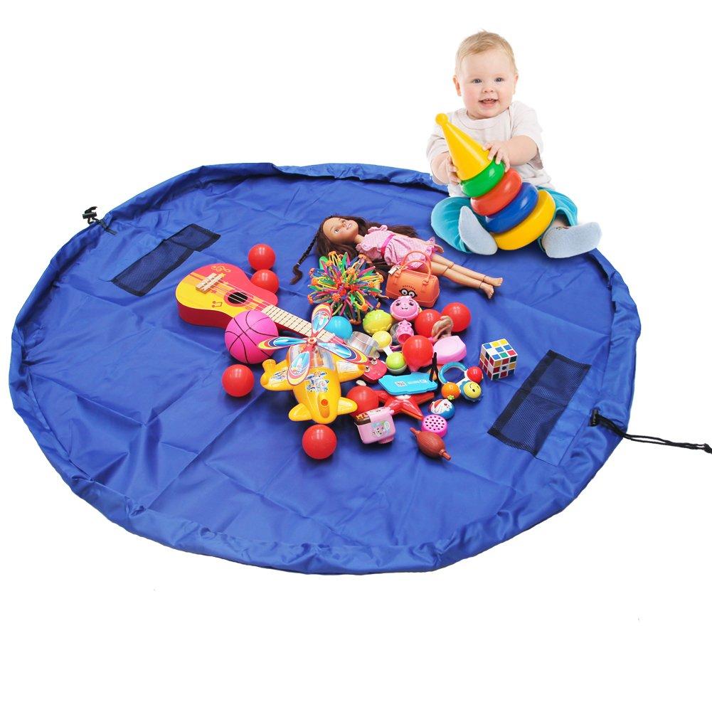 MULGORE Kinder Spielzeug Aufbewahrungsbeutel Spiel Matte Schnelle Sammlung Tasche Organizer Große Größe 150CM Für Haus & Outdoor (Blau)