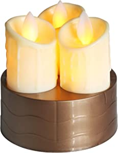 Flameless Candles,Moving Wick Flameless Candles,Flameless Candles with Candle Holders,Ivory Dripping Wax and Flickering Amber Yellow Flame Battery Operated Electric Candle