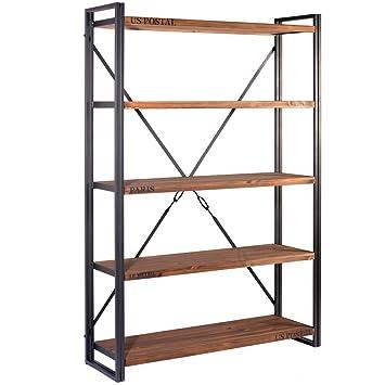 simple indhouse michigan scaffale libreria in metallo e legno with libreria in metallo. Black Bedroom Furniture Sets. Home Design Ideas