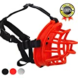 Supet Dog Muzzle, Soft Rubber Basket Muzzle Cage Muzzle for Small Medium Large Dogs, Allows Panting and Drinking, Prevents Unwanted Barking Biting and Chewing
