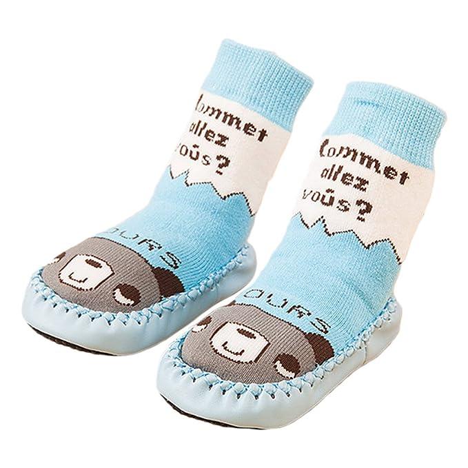 Vococal Calcetines de Bebé, Algodón Bebé Niños Calcetines de Piso Largos Zapatos Botas Zapatillas con