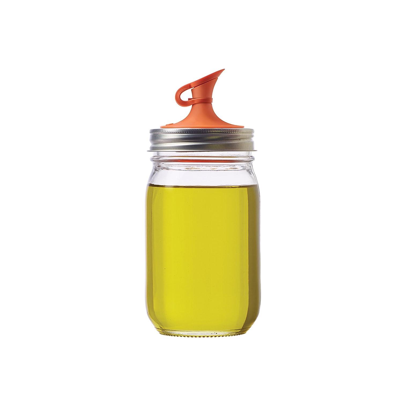 Jarware 82640 Oil Cruet Lid for Regular Mouth Mason Jars, Orange