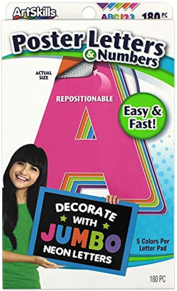 ArtSkills Jumbo Poster Letters and Numbers, A-Z and 0-9, Neon Colors, Assorted, 180-Count (PA-1445)