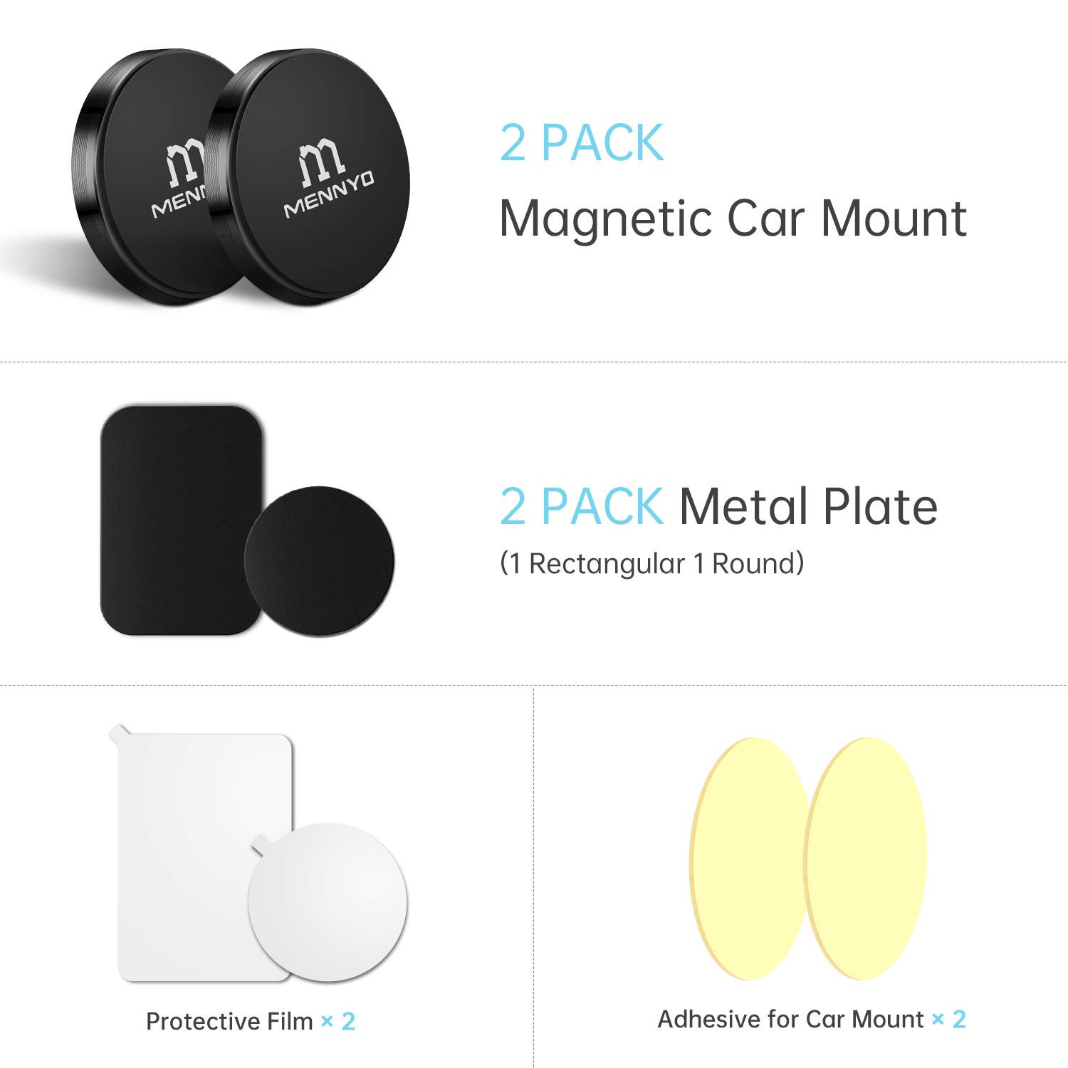 Magnetic Car Mount - 2 Magnet Phone Holders + 2 Adhesive Metal Plates - Universal Flat Stick On Mount Holder for All Phones and Mini Tablets