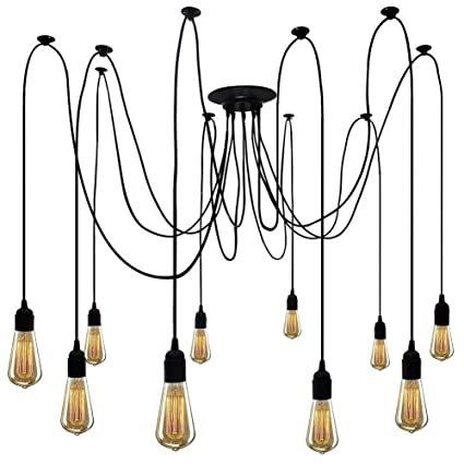 Industrial Ceiling Pendant Spider Light Fixture 10 Multiple Lighting ...