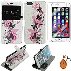 """Traitonline iPhone 6 Colorful Case -View Flip Cover for iPhone 6 Plus 5.5"""" protective shell Pouch(Beautiful Butterfly)+3*Screen Protectors"""