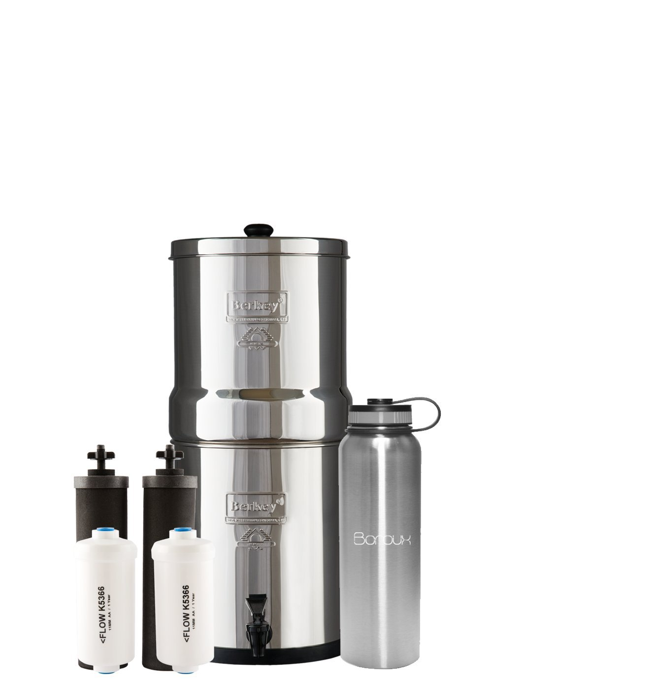 Big Berkey Water Filter System includes Black Filters and Fluoride Filters (2.25 Gallon) bundled with Boroux 40 oz Stainless Steel Double Wall Bottle