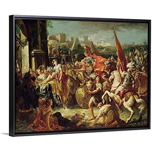 """Gasparo (1689-1767) Diziani Floating Frame Premium Canvas with Black Frame Wall Art Print Entitled The Entrance of Alexander The Great (356 23 BC) into Babylon 30""""x24"""""""
