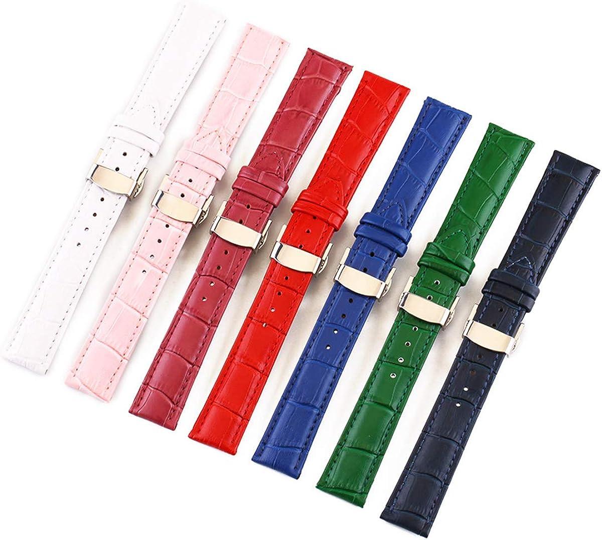 Croco Montre Bande 12mm / 13mm / 14mm / 15mm / 16mm / 17mm / 18mm / 19mm / 20mm / 21mm / 22mm / 24mm Bracelet Papillon Bracelet Fermoir Pink