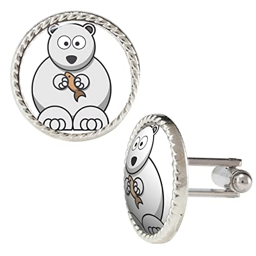 Bear Vector Illustration Cartoon with a Fish Cufflinks