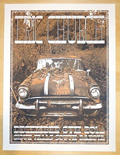 2014 Eric Church - Sioux Falls Silkscreen Concert Poster by - Stores Sioux Falls