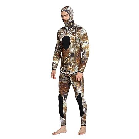 MagiDeal Traje de Neopreno de Hombre con Dos Piezas Camuflaje Ropa de Natación de Invierno para Pescar Surf