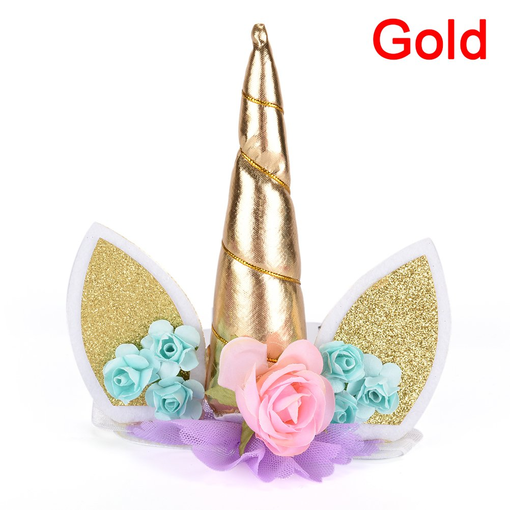 Amazon.com  Jiabetterniu 1 Pc Glitter Unicorn Party Favor Supplies Unicorn  Horn Hair Bands Flowers Ear Headband for Girls 18cc5f9e0c5