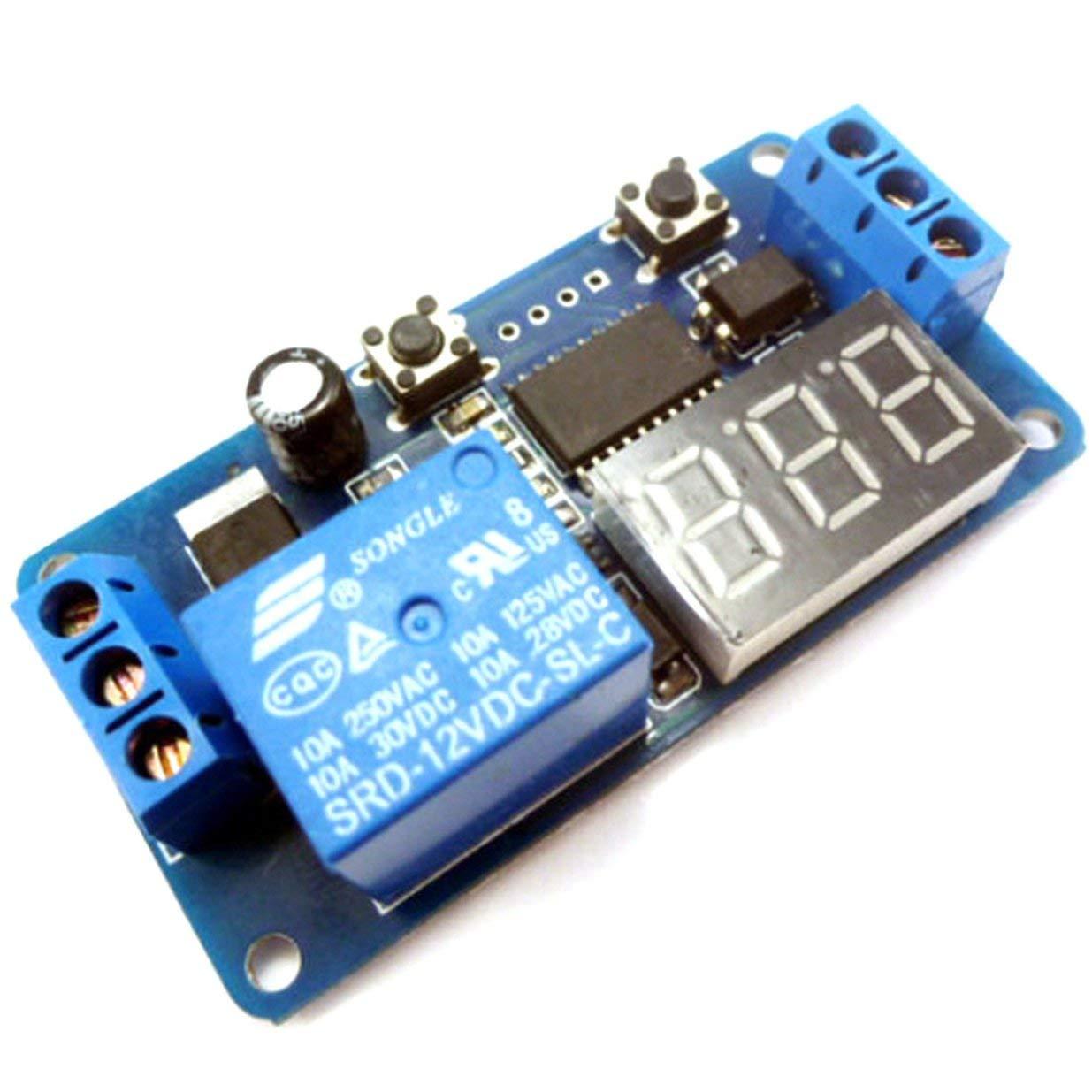 Banbie8409 Automatización del PLC del módulo del Interruptor de Control del Temporizador de retardo Digital de la Pantalla LED DC 12V-Azul Negro