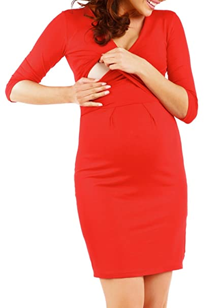 De Las Mujeres Maternidad Cruz V-neckline vestido. Fácil La Lactancia