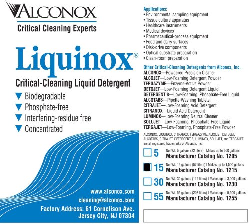 Alconox 1215 Liquinox Critical Cleaning Liquid Detergent, 15 Gallon Drum by Alconox