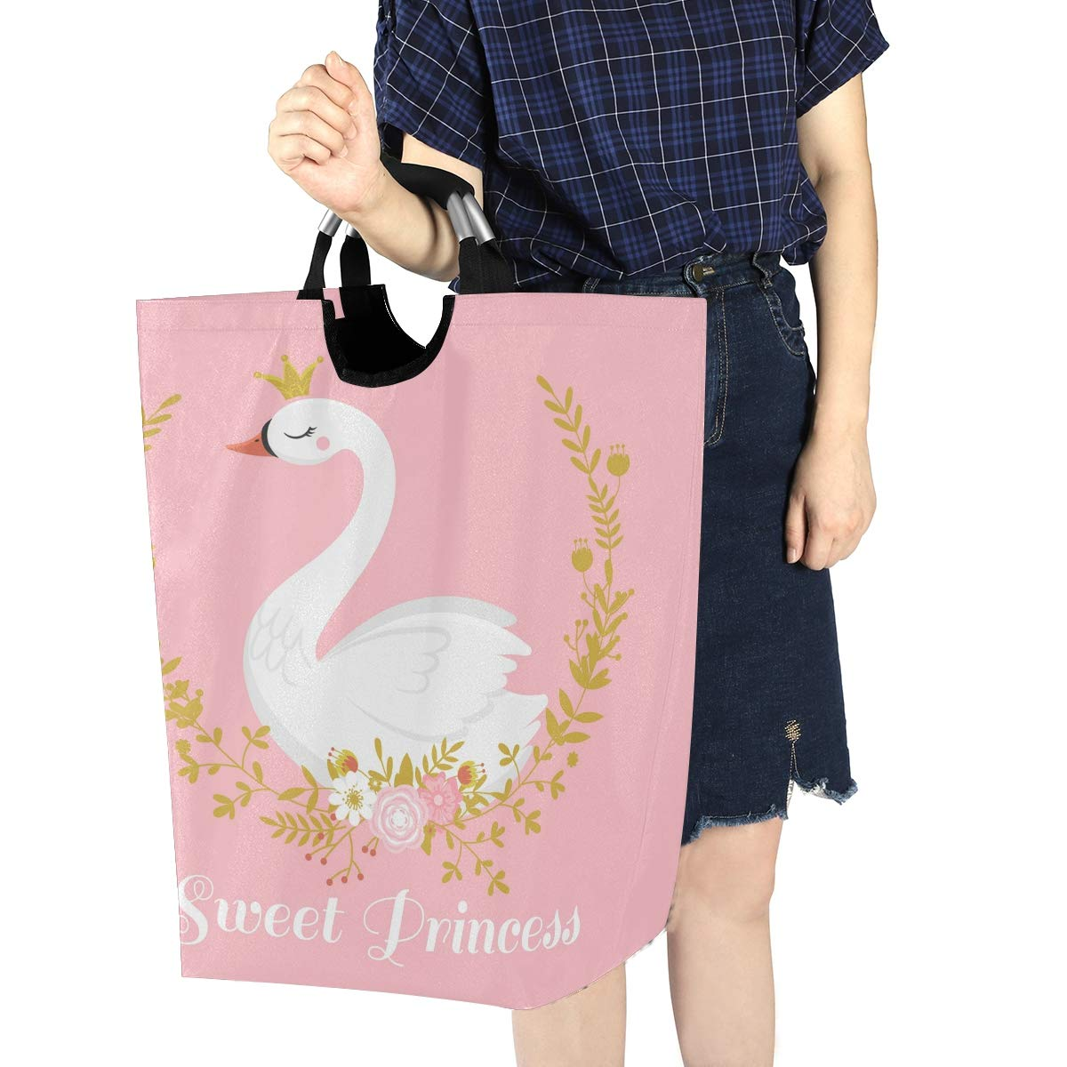 OREZI Cute Swan Princess Laundry Hamper,Waterproof and Foldable Laundry Bag with Handles for Baby Nursery College Dorms Kids Bedroom Bathroom