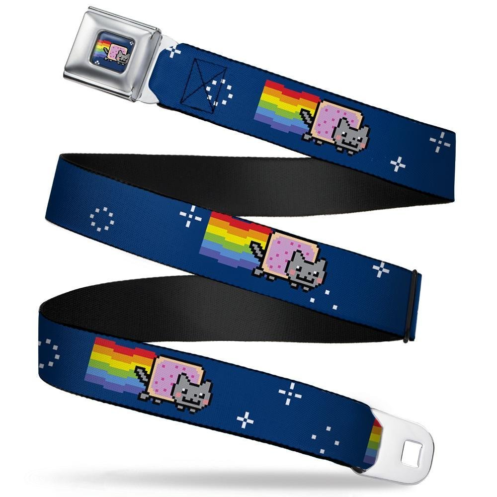 1.0 Wide Nyan Cat Flying in Space Blue 20-36 Inches in Length Buckle-Down Seatbelt Belt