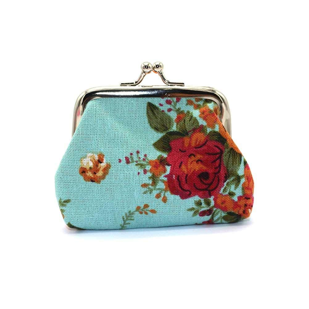 Jingolden Mini Rose Canvas Buckle with Cute Small Coin Purse Women's Cloth Coin Bag